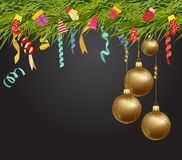 Merry christmas and  happy new year 2018 wallpaper balls gold Stock Photos