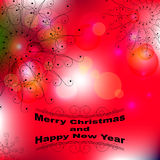 Merry Christmas and Happy New Year wallpaper. Dark letters and openwork on light red background with different and transparent circles Royalty Free Stock Photography
