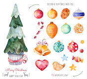 Merry Christmas and Happy New Year watercolor set. Decorate your christmas tree with 19 decorative balls,candy,golden bells.19 Handpainted watercolor clipart Stock Image