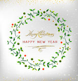 Merry christmas happy new year 2016 watercolor wreath. Ideal for xmas card or elegant holiday party invitation. EPS10 . Merry christmas happy new year 2016 stock illustration