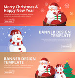 Merry Christmas and Happy New Year Web Banner Design Template. With Santa, Snowman, Tree Background Royalty Free Stock Image