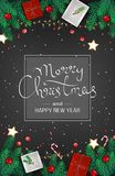 Merry Christmas and Happy New Year Web Banner Template. Festive Decoration with fir branches, gifts, candy cane, lollipops. Garlands, balls, gift boxes on Stock Photography
