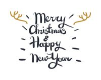 Merry Christmas and Happy New Year Greeting Card. Merry Christmas and Happy New Year white greeting card with calligraphic black text, dark lines and golden Stock Photos