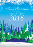 Merry Christmas and Happy New Year 2016. The white snow and colorful Christmas tree on blue background. Snow on winter Stock Photos