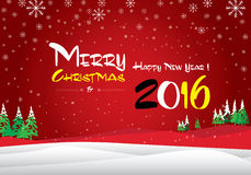 Merry Christmas and Happy New Year 2016. The white snow and green Christmas tree on blue background. Stock Photo
