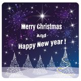 Card Merry Christmas and Happy New Year , white tree and fireworks royalty free illustration