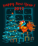 Merry Christmas and Happy New Year 2017 winter card background with cute funny Rooster. Standing on presents holding ball decorating xmas tree. Christmas Night Royalty Free Stock Image