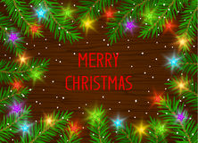 Merry Christmas and Happy New Year winter card background t. Emplate with xmas tree branches and festive led stars lights Royalty Free Stock Image