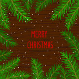 Merry Christmas and Happy New Year winter card background template with xmas tree branches Stock Photography