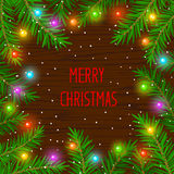 Merry Christmas and Happy New Year 2017 winter card background template with xmas tree branches and festive led lights Royalty Free Stock Images