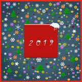 Merry Christmas and Happy New year, winter card 2019 concept.  royalty free illustration