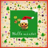 Merry Christmas and Happy New year, winter card concept.  stock illustration