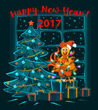Merry Christmas and Happy New Year 2017 winter card with cute funny Rooster wrapped with xmas lights. Standing on presents Stock Photos