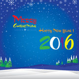 Merry Christmas and Happy New Year in winter. The colorful snow in sky on blue background. Royalty Free Stock Images