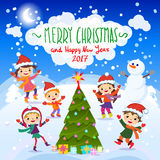 Merry Christmas And Happy New Year. 2017. Winter fun. Winter fun. Cheerful kids playing in the snow Royalty Free Stock Photos