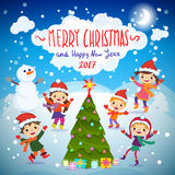 Merry Christmas And Happy New Year. 2017. Winter fun. Stock Photos