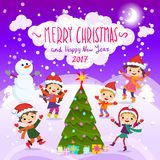 Merry Christmas And Happy New Year. 2017. Winter fun. Stylish and bright Merry Christmas card in vector. Funny Elves dancing under the snowfall. Cute holiday stock illustration