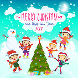 Merry Christmas And Happy New Year. 2017. Winter fun. Stylish and bright Merry Christmas card in vector. Funny Elves dancing under the snowfall. Cute holiday vector illustration