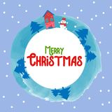 Merry christmas happy new year 2018 winter greeting card background with cute cartoon. Vector illustration. Stock Image
