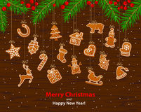 Merry Christmas and Happy New Year winter greeting card background with hanging on ropes gingerbread cookies stock illustration
