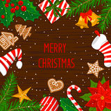 Merry Christmas and Happy New Year  winter  greeting card background with xmas decoration elements Royalty Free Stock Photo