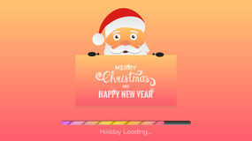 Merry Christmas and Happy New Year. Winter Holidays background. Modern background with loading bar , Santa and Christmas typography Stock Photo