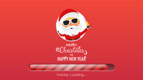 Merry Christmas and Happy New Year. Winter Holidays background. Modern background with loading bar , Santa and Christmas typography Royalty Free Stock Photography