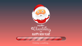 Merry Christmas and Happy New Year. Winter Holidays background. Modern background with loading bar , Santa and Christmas typography Stock Photos