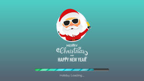 Merry Christmas and Happy New Year. Winter Holidays background. Modern background with loading bar , Santa and Christmas typography Stock Photography