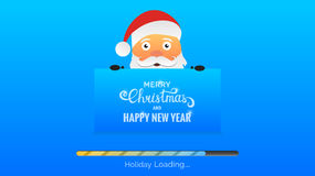 Merry Christmas and Happy New Year. Winter Holidays background. Modern background with loading bar , Santa and Christmas typography Royalty Free Stock Photo