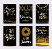 Merry Christmas, Happy New Year, winter holidays congratulation cards. Vector clipart illustrations. vector illustration