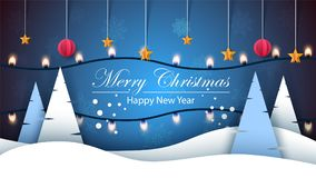Merry Christmas. Happy New Year, Winter Landscape. Fir, Star, Snow, Light, Bulb Royalty Free Stock Images