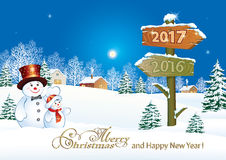 Merry Christmas and  Happy New Year 2017. Winter landscape  Stock Photo