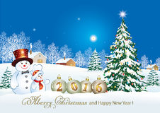 Merry Christmas and Happy New Year 2016. Winter landscape with Christmas tree and snowman stock illustration
