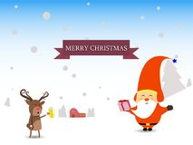 Merry Christmas and happy new year winter scene Santa and reindeer gifts greeting card. Merry Christmas reindeer characters greeting card  illustration Stock Images