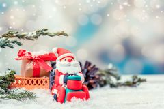 Merry Christmas and Happy New Year. Winter season with snow and decoration royalty free stock photo