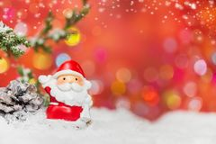 Merry Christmas and Happy New Year. Winter season with snow and decoration.  Copy space for text with blur background Stock Photo