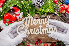 Merry Christmas. And Happy New Year, winter season with snow and decoration Royalty Free Stock Image