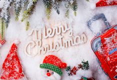 Merry Christmas and Happy New Year, winter season. With snow and decoration royalty free stock photo