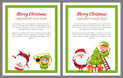 Merry Christmas Wintertime Vector Illustration. Merry Christmas and happy New Year, wintertime poster, Santa Claus and elf decorating pine tree, music and dances Stock Images