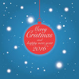 Merry Christmas and happy new year 2016 wishes card. Flat design Christmas bauble and snowflakes - Merry Christmas and happy new year 2016 wishes poster, vector Stock Photo