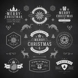 Merry Christmas And Happy New Year Wishes. Typographic Labels and Badges set, Vintage decorations, objects, symbols and elements, vector illustration on Royalty Free Stock Photo
