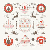 Merry Christmas And Happy New Year Wishes. Typographic Labels and Badges set, Vintage decorations, objects, symbols and elements, vector illustration Stock Image