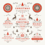 Merry Christmas And Happy New Year Wishes. Typographic Labels and Badges set, Vintage decorations, objects, symbols and elements, vector illustration Stock Photos