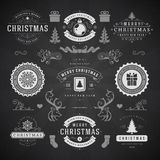Merry Christmas And Happy New Year Wishes. Typographic Labels and Badges set, Vintage decorations, objects, symbols and elements, vector illustration on Stock Photo