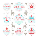 Merry Christmas And Happy New Year Wishes. Typographic Labels and Badges set, Vintage decorations, objects, symbols and elements, vector illustration Royalty Free Stock Images