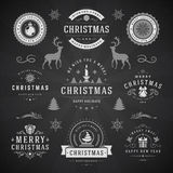 Merry Christmas And Happy New Year Wishes. Typographic Labels and Badges set, Vintage decorations, objects, symbols and elements, vector illustration on royalty free illustration