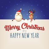 Merry Christmas and happy New year wishing you Santa Claus and Reindeer on billboard - blue background royalty free illustration