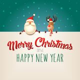 Merry Christmas and happy New year wishing you Santa Claus and Reindeer on billboard - green background. Merry Christmas and happy New year wishing you Santa stock illustration