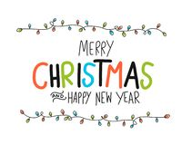 Merry Christmas and Happy New Year word and colorful party light vector illustration. Merry Christmas and Happy New Year word and colorful party light doodle stock illustration